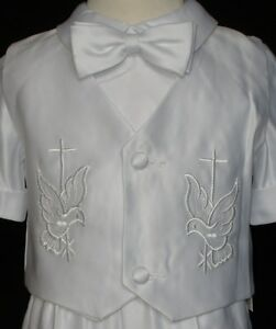 Baby Boy Christening Baptism Communion White Gown Outfit suit Size XS-XL 0-24M