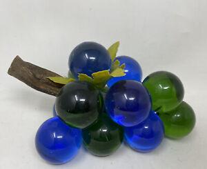 VTg-DECORATIVE-8-GRAPE-CLUSTER-Mcm-Blue-Green-GLASS-LUCITE-ACRYLIC-DRIFTWOOD