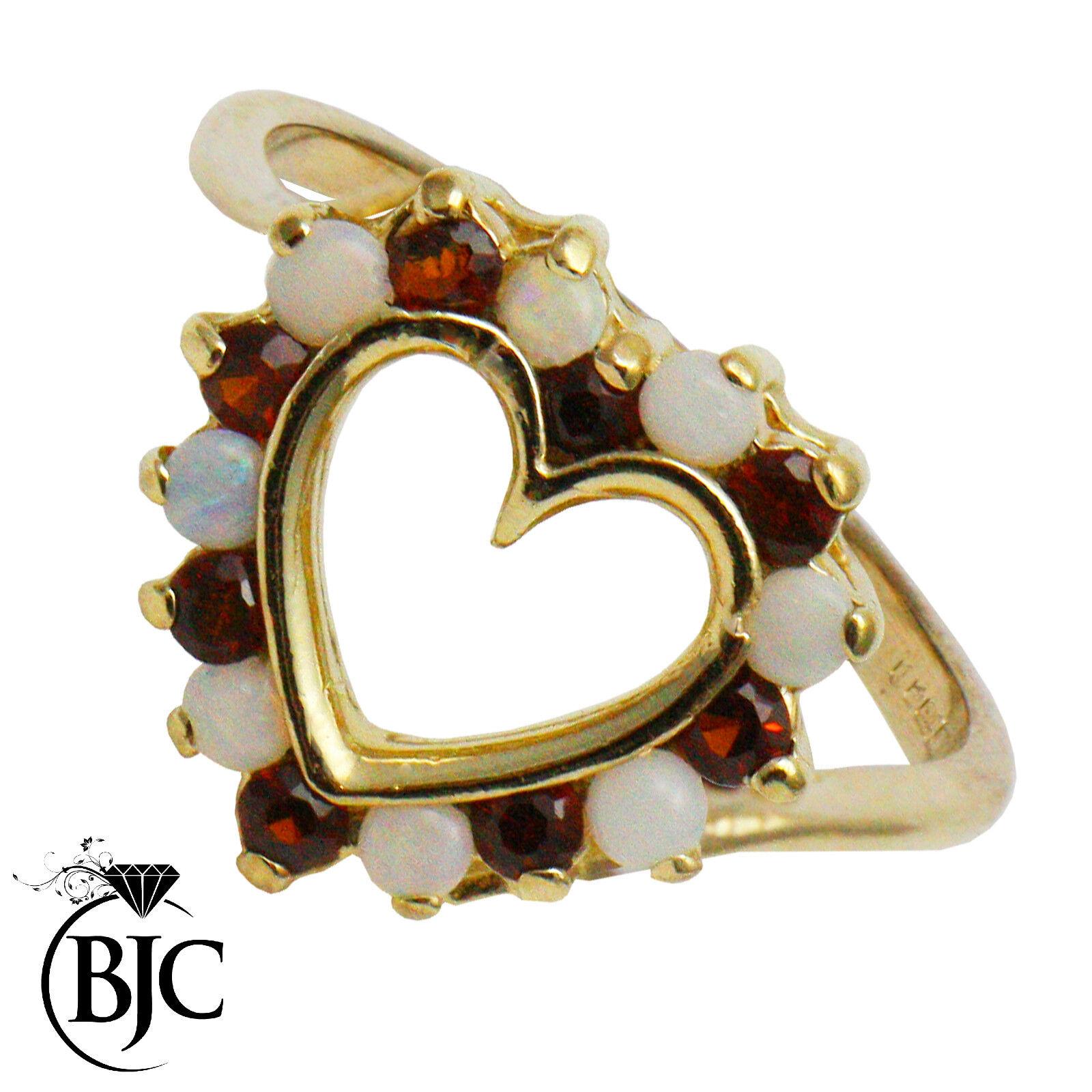 BJC 9ct gold yellow GRANATO & OPALE redondo GRAPPOLO Abito misura anello I R130