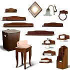 Nuovi accessori bagno arte povera country 16 articoli stile classico color noce