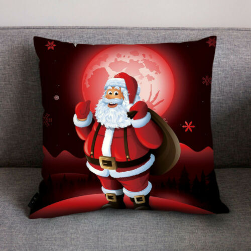 "Christmas Square 18/"" Cushion Cover Santa Claus Pattern Pillow Case Sofa Decors"