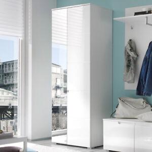 Schrank weiß hochglanz mit spiegel  Garderobenschrank Spice Diele Flur Garderoben Schrank weiß Hochglanz ...