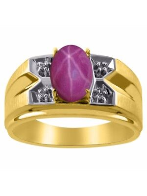 Star Ruby /& Diamond Ring Sterling Silver or Yellow Gold Plated Silver Band