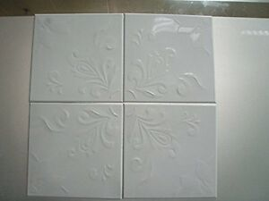 Self Adhesive Decorative White Embossed Floral Metal Tiles - Set of ...