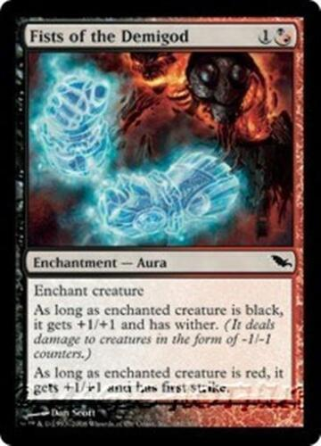FISTS OF THE DEMIGOD Shadowmoor MTG Black//Red Enchantment — Aura Com