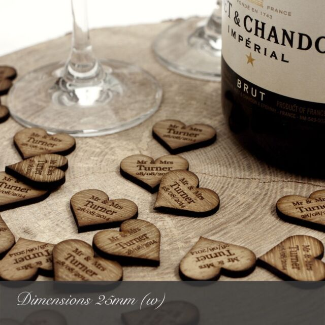 Personalised Wooden Heart Table Decorations, Rustic, Vintage Wedding Favours.