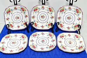 LOT-of-6-Royal-Albert-Petit-Point-6-1-8-034-Square-Bread-Butter-Plates-MINT