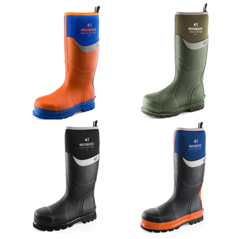 Buckler Waterproof Safety Wellington botas Negro, Wellies Azul, Verde or Naranja Wellies Negro, 3078f6