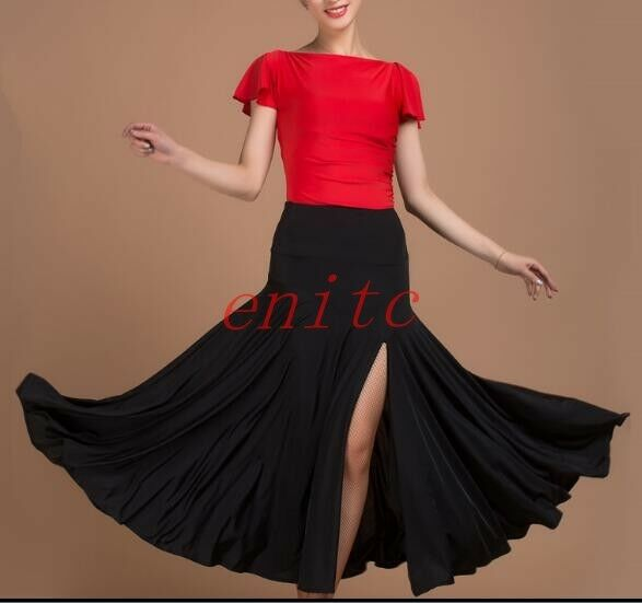 New Skirts Latin Dance Dress Salsa Tango Cha cha Ballroom Group Dance Slit Skirt
