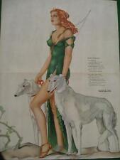 March 1941 Varga Girl Esquire Gatefold Pinup Art Deco Diana w/ Borzoi Dogs MINT