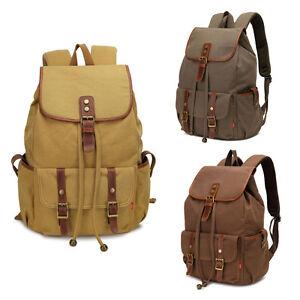 5b16890ed9 Image is loading Men-Women-Vintage-Army-Canvas-Backpack-Rucksack-School-