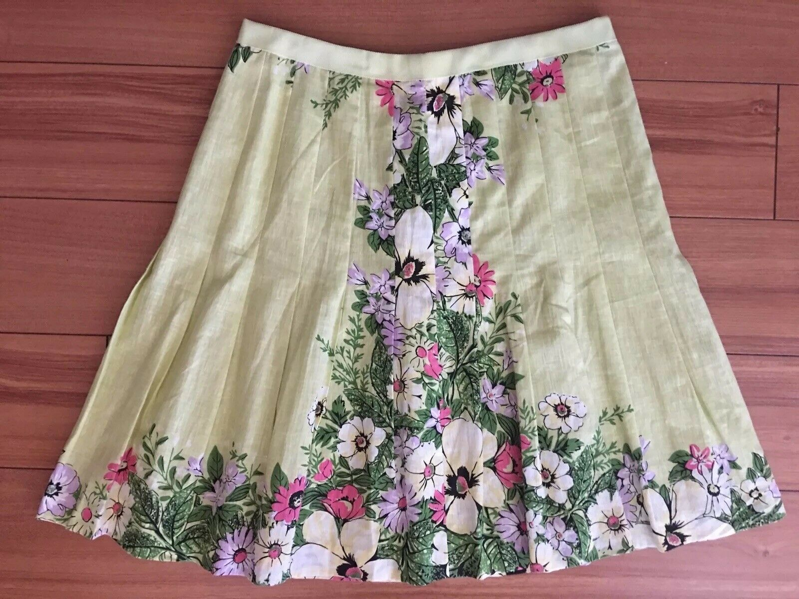 ANN TAYLOR LOFT Cotton Floral Lined Skirt 75% Cotton 25% Silk  Women's 6P