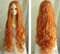 New Cosplay Cos Dark Orange Long curly Heat-Resistant WIG