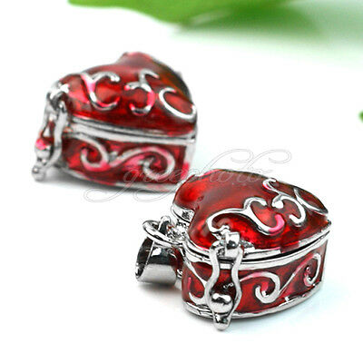 2x Vintage Red Metal Heart Picture/Photo Lockets Pendant for Necklace DIY Craft