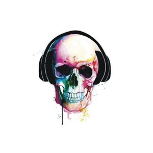 Skull Wearing Headphones Abstract Music Canvas Box Or Poster Print