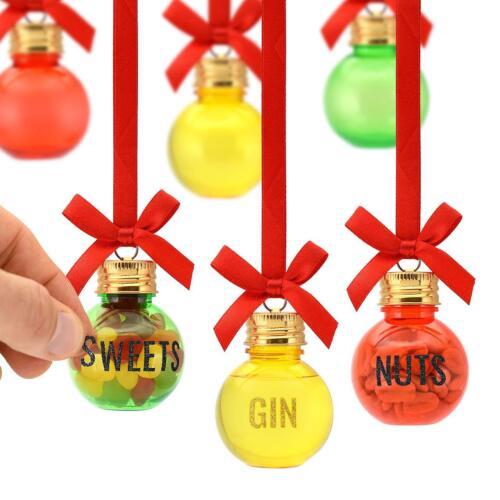 Lot de 12 Gin boules de Noël Arbre de Noel Ensemble Cadeau Vide Pour Remplir L/'alcool Bonbons UK