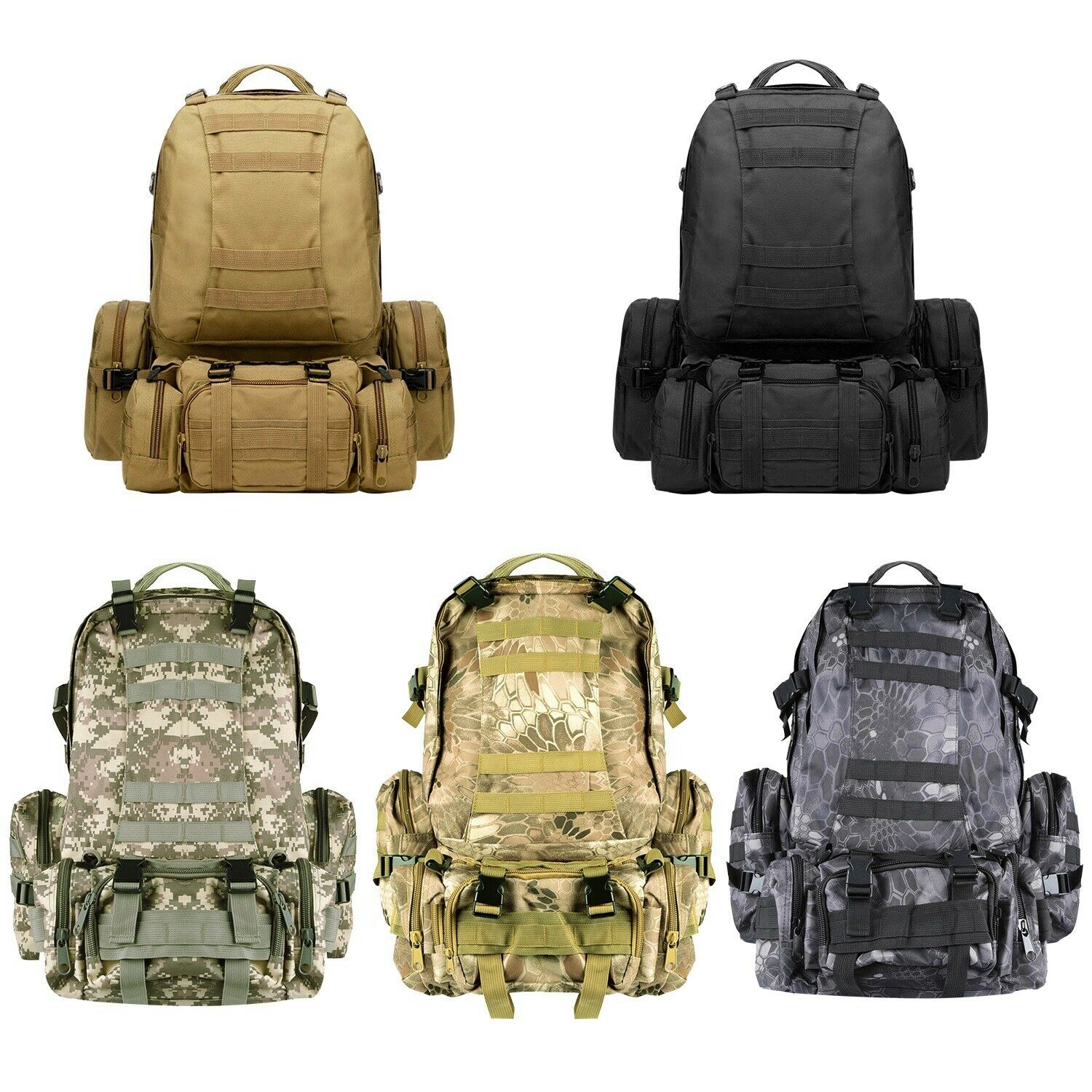 56L 4in1 Molle exterior Military Tactical Bag Camping Hiking Trekking B... - s l1600