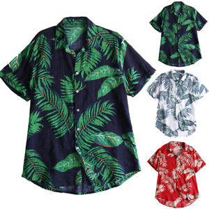 New-Mens-Hawaii-Floral-Shirts-Beach-Party-Holiday-Short-Sleeve-Casual-Loose-Tops