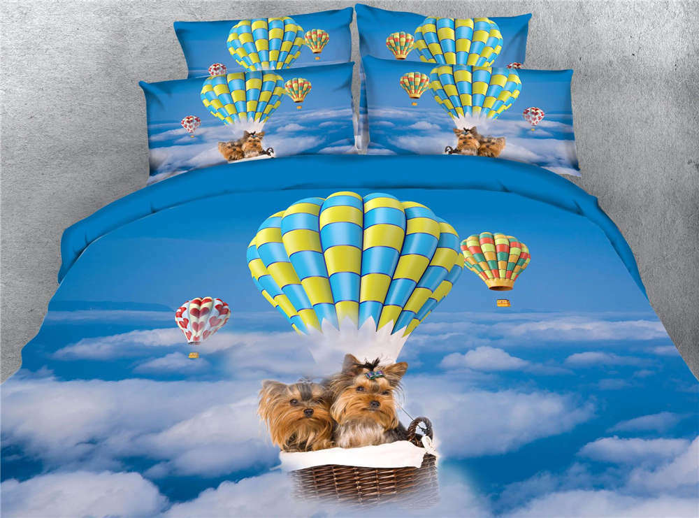 Dog Riding Balloon 3D Printing Duvet Quilt Doona Covers Pillow Case Bedding Sets