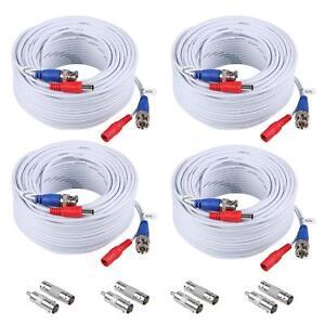 4X100ft Camara Cable BNC Video Wire Cord de seguridad para CCTV DVR Blanco White