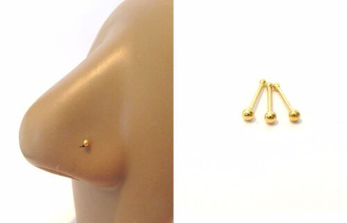 18k Yellow Gold Plated Nose Bones End Tiny Balls Straight Pins Studs 22 gauge