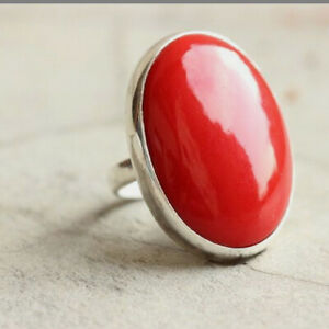 Red Coral Ring 925 Sterling Silver Ring Handmade Ring Boho Ring All Size KA-23