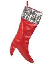 Red High Heel Christmas Stocking Hanging Decor Decoration Holiday Shoe Faux Fur