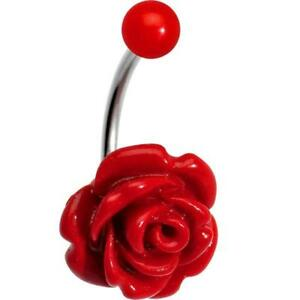 Details About Woman S Beautiful Blooming Red Or Black Stone Rose J Bar Belly Ring