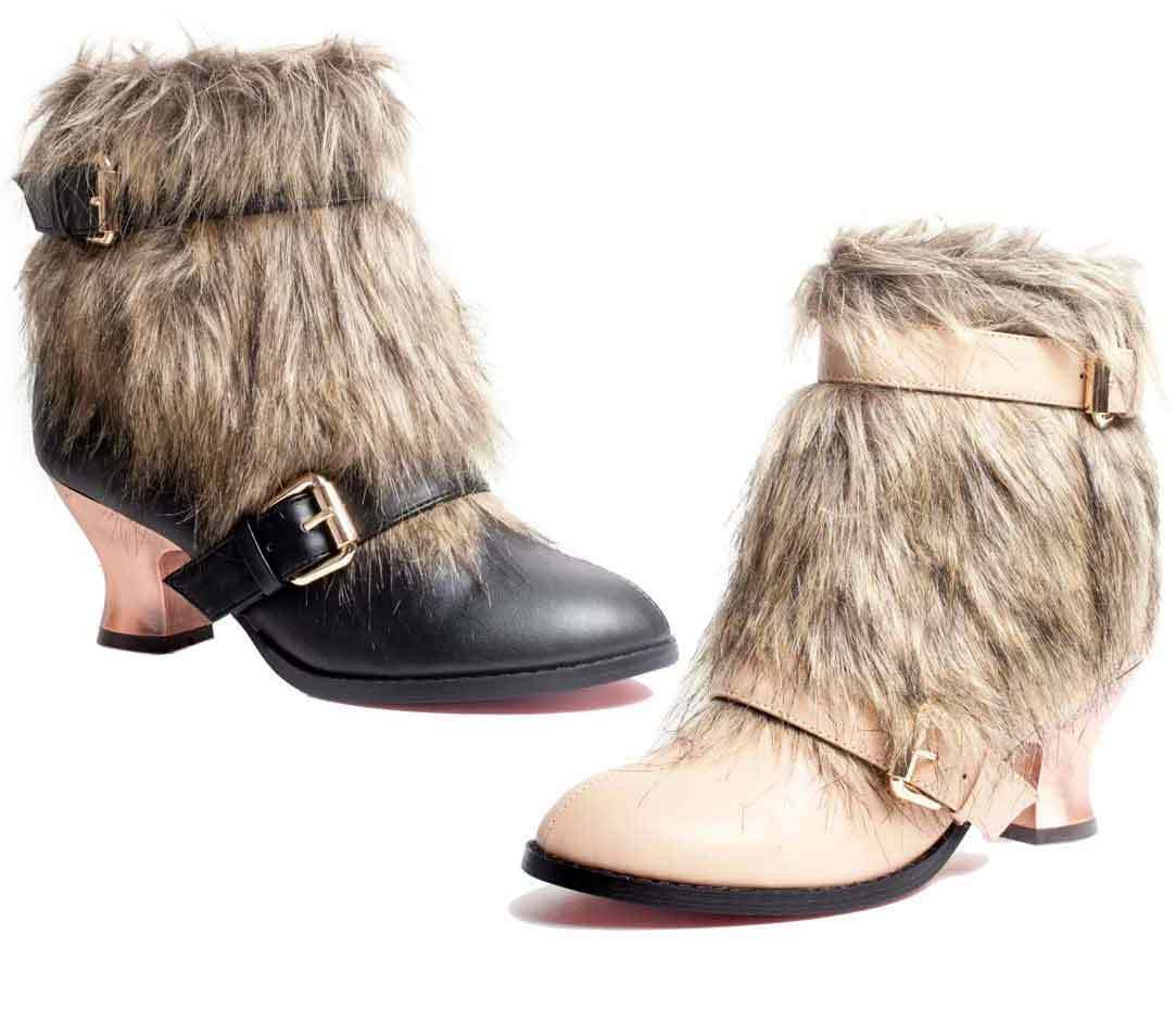 Hades ELENA Black Ankle Boots Buckles & Long Light Brown Fur Copper Heel