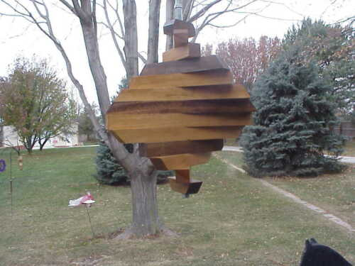 "Spiral  Wind Spinner USA Hand Made Hanging 9/"" x 13/"" Wood 13...Spiral"