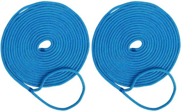 NovelBee 2 Pack 1//2 Inch 35 ft Double Braid Nylon Dock Line Mooring Ropes Black