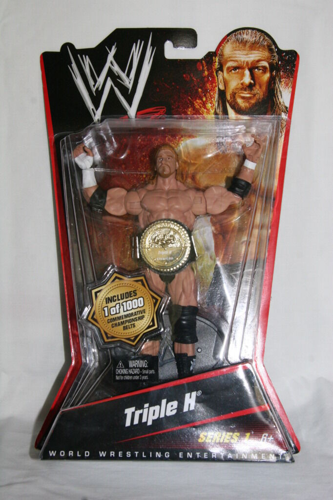 WWE Wrestling Mattel Series 1 Action Figure Triple H HHH 1 OF 1000 BELT  U