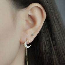 Veronicaの手作 14K Gold Plated Earrings Korean Style Moon shaped Stud 包金月亮锆石耳环韩国气质