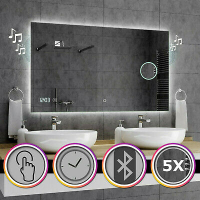 DUBAI Badspiegel mit LED Beleuchtung Spiegel Heizmatte Touch Sensor Uhr A10