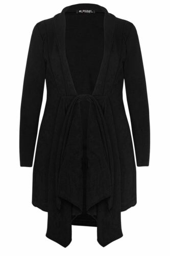 Women Ladies Belted Collared Waterfall Tie Knot Trench Coat Duster Midi Cardigan