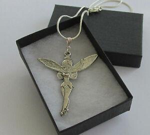 Large-Metal-Fairy-Angel-Tinkerbell-Pendant-Chain-Necklace-Handmade-Jewellery