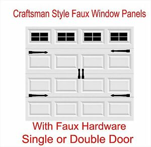 craftsman style vinyl garage door decal kit faux windows hardware ebay. Black Bedroom Furniture Sets. Home Design Ideas