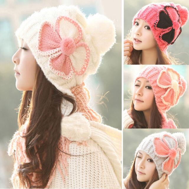 New Women's Winter Baggy Beanie Knit Crochet Ski Hat Flower slouch Cap Snow Hat