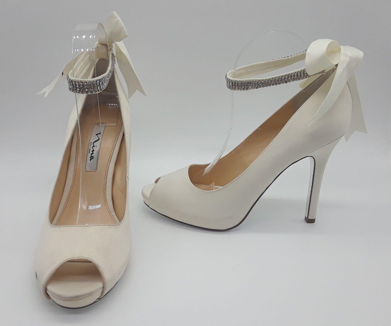 Nina Karen Ankle Women Shoes White Satin Ankle Karen Strap Bow Heels Sz 9 M b4e6e3