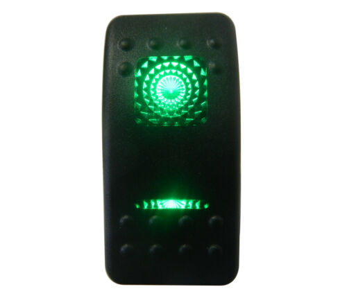 Plain Green LED Winch Work Back Lit Rocker Switch Both Sides Light Up On Off On