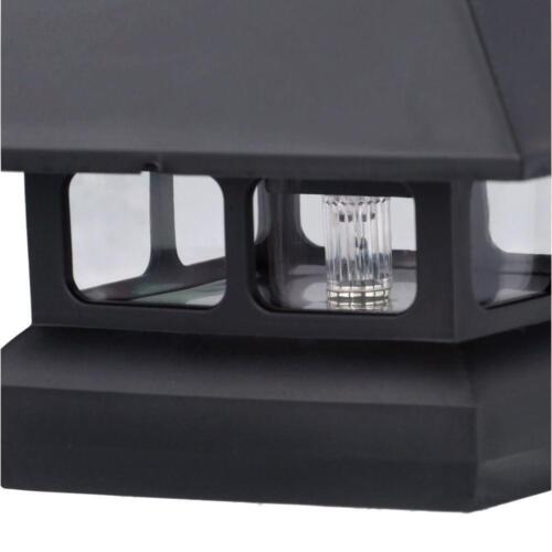 Black Solar-Powered Post Cap Light for Deck or Fence 12 PACK 4 in x 4 in