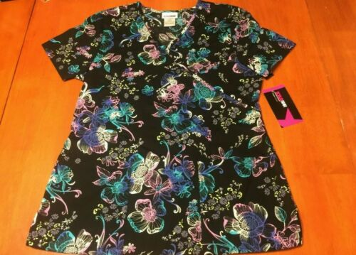 3XL Scrubstar Womens Luminescent Flower V-Neck Top Sizes S L XL M 2XL