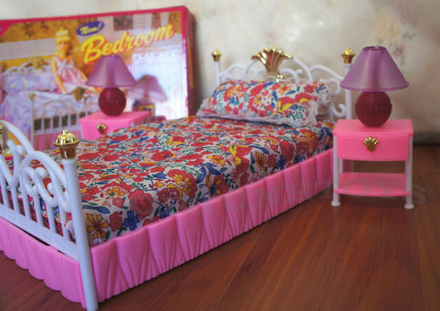 Charmant GLORIA FURNITURE DOLL SIZE NEW BEDROOM Lighted BEDLAMP SET FOR BARBIE  PLAYSET