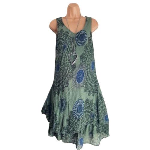 Damen Ärmellos Kleid Sommerkleid Minikleid Tunika Ärmellos Longtop Longshirt