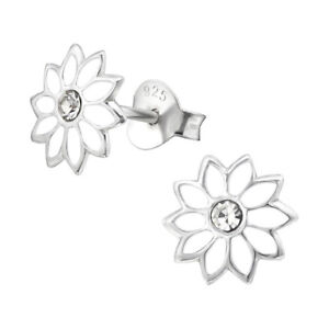 044561538 Image is loading 925-Sterling-Silver-Childrens-Girls-White-Flower-Stud-