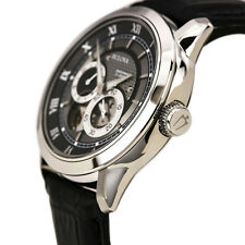 New Bulova Men's Mechanical 96A135 Black Leather Automatic Watch with Black Dial