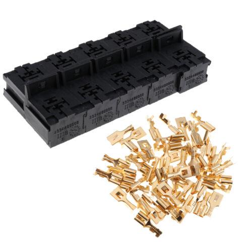 24V 30A 80A AMP 5 Polige 6,3 Mm Klemmen 10 Sätze Kfz Relaissockel 12V