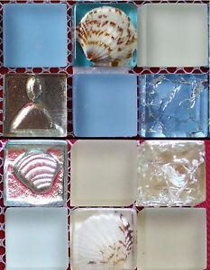 2019 DernièRe Conception Nouveau! Luxe Glasmosaik M. Coquillages U. Ornements, Bleu Ou Beige, Carreaux Mosaïque-afficher Le Titre D'origine