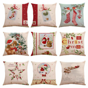Xmas-Cotton-Linen-Bed-Sofa-Waist-Cushion-Throw-Pillow-Case-Cover-Home-Decor-BT
