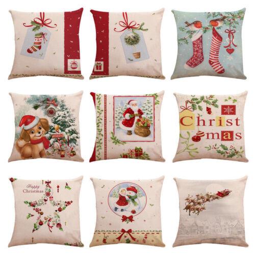 Christmas Cotton Linen Bed Sofa Waist Cushion Throw Pillow Case Cover Decor Xmas